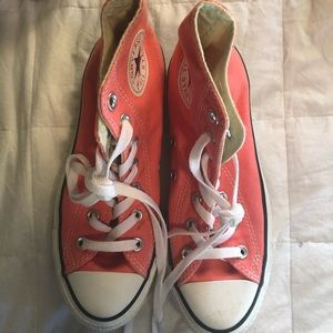 Coral pink converse high tops